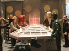 Dapol Tardis Console Room with Dapol Tetrap, Davros,  7th Doctor (light coat), Red Dalek, K-9, 3rd Doctor, Ice Warrior and The Master