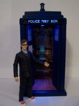 Flight Control Tardis and The Doctor in glasses and red Converse