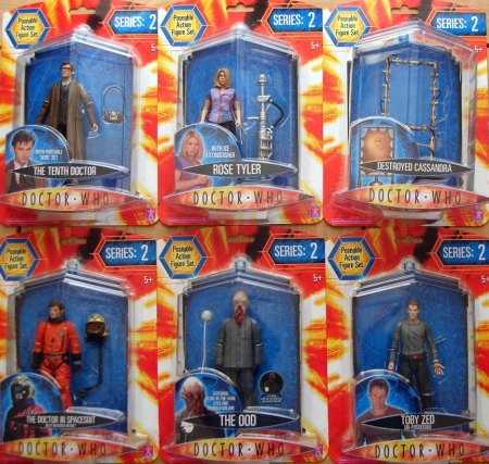 Series 2 Tweaked Wave - The Tenth Doctor with Portable Wire Set, Rose Tyler with Ice Extinguisher, Destroyed Cassandra, The Doctor in Spacesuit with Smashed Helmet, The Ood featuring Glow-In-The-Dark Eyes and Translation Orb, Toby Zed Un-Possessed